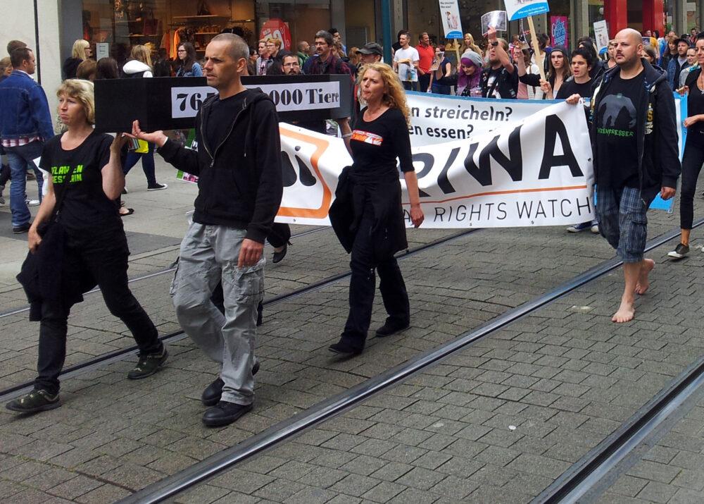 Bericht zum ersten Marsch zur Schließung aller Schlachthäuser 2014 in Kassel
